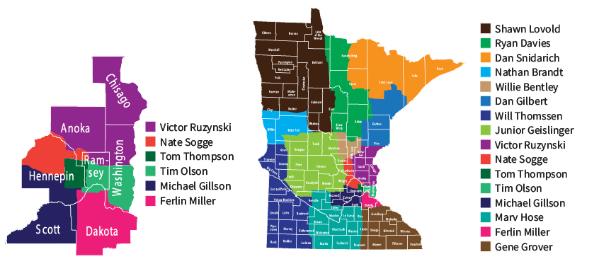 Minnesota and Metro agent territory maps